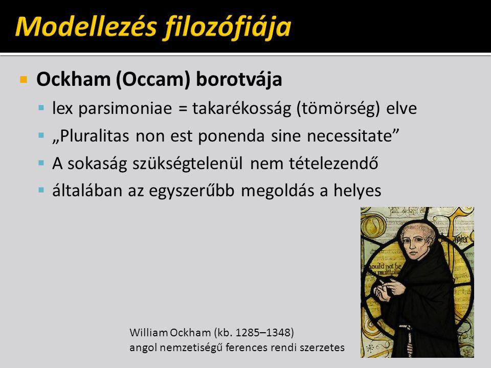 """ Ockham (Occam) borotvája  lex parsimoniae = takarékosság (tömörség) elve  """"Pluralitas non est ponenda sine necessitate  A sokaság szükségtelenül nem tételezendő  általában az egyszerűbb megoldás a helyes William Ockham (kb."""