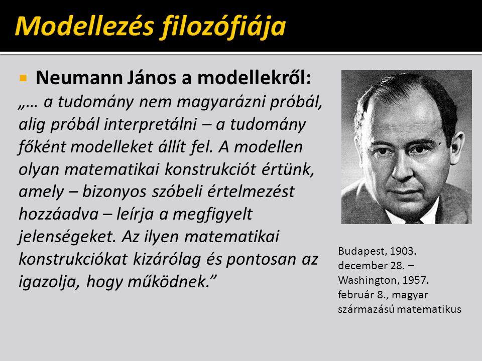 """ Neumann János a modellekről: """"… a tudomány nem magyarázni próbál, alig próbál interpretálni – a tudomány főként modelleket állít fel."""