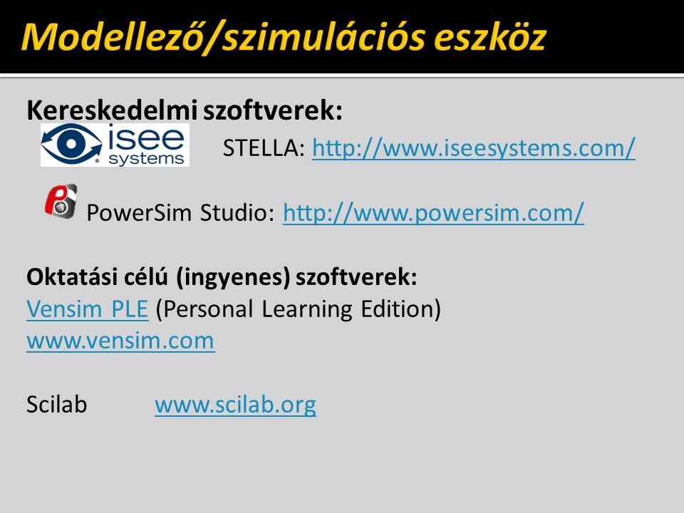 Kereskedelmi szoftverek: STELLA: http://www.iseesystems.com/http://www.iseesystems.com/ PowerSim Studio: http://www.powersim.com/http://www.powersim.com/ Oktatási célú (ingyenes) szoftverek: Vensim PLEVensim PLE (Personal Learning Edition) www.vensim.com Scilabwww.scilab.orgwww.scilab.org