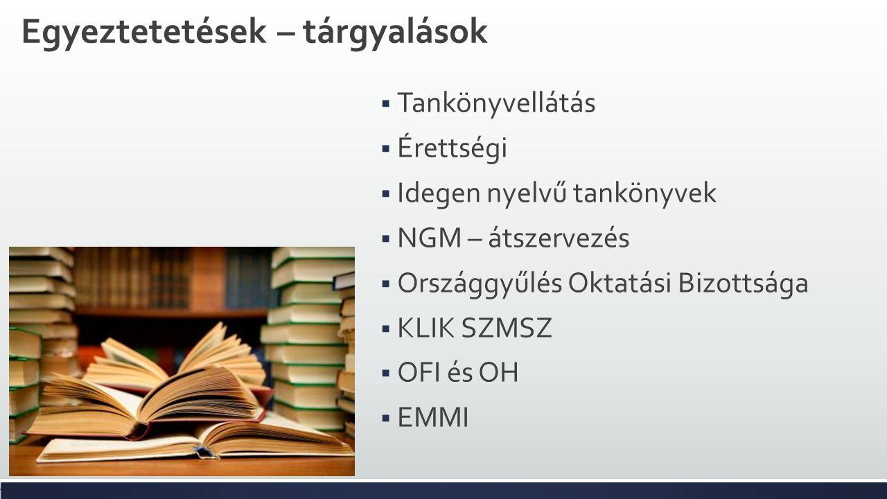 Egyeztetetések – tárgyalások  Tankönyvellátás  Érettségi  Idegen nyelvű tankönyvek  NGM – átszervezés  Országgyűlés Oktatási Bizottsága  KLIK SZMSZ  OFI és OH  EMMI