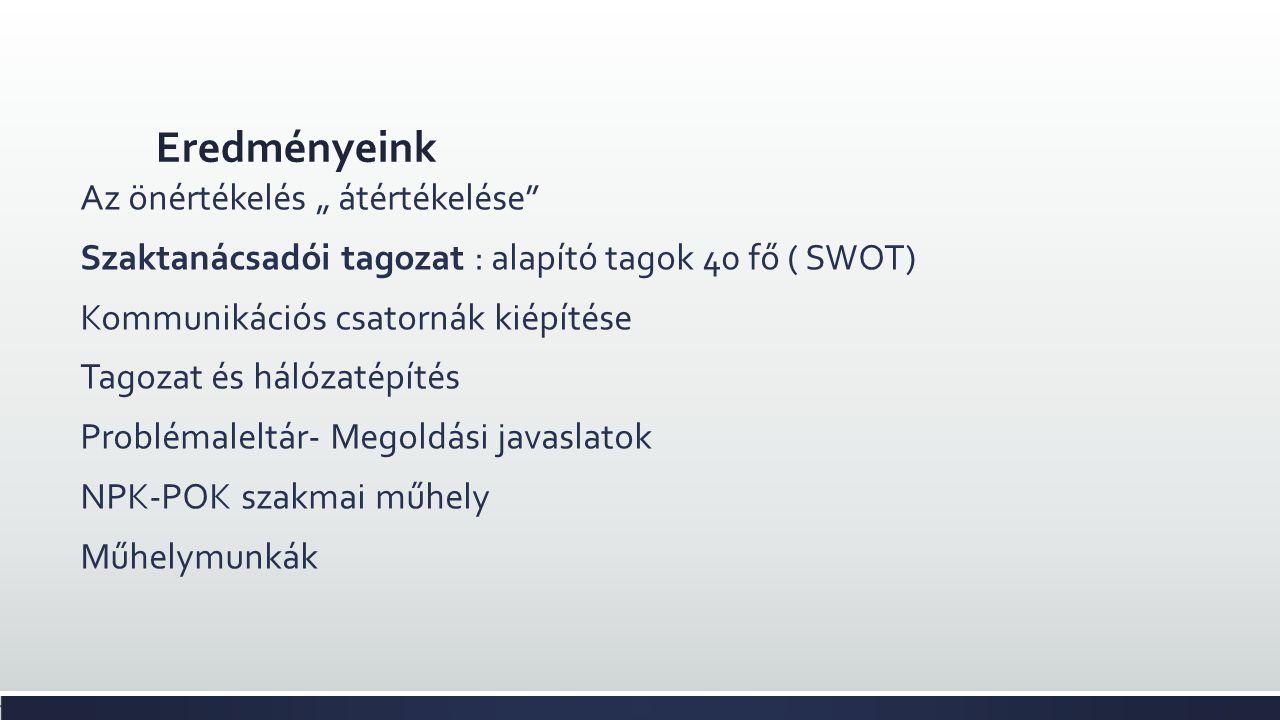 """Eredményeink Az önértékelés """" átértékelése Szaktanácsadói tagozat : alapító tagok 40 fő ( SWOT) Kommunikációs csatornák kiépítése Tagozat és hálózatépítés Problémaleltár- Megoldási javaslatok NPK-POK szakmai műhely Műhelymunkák"""