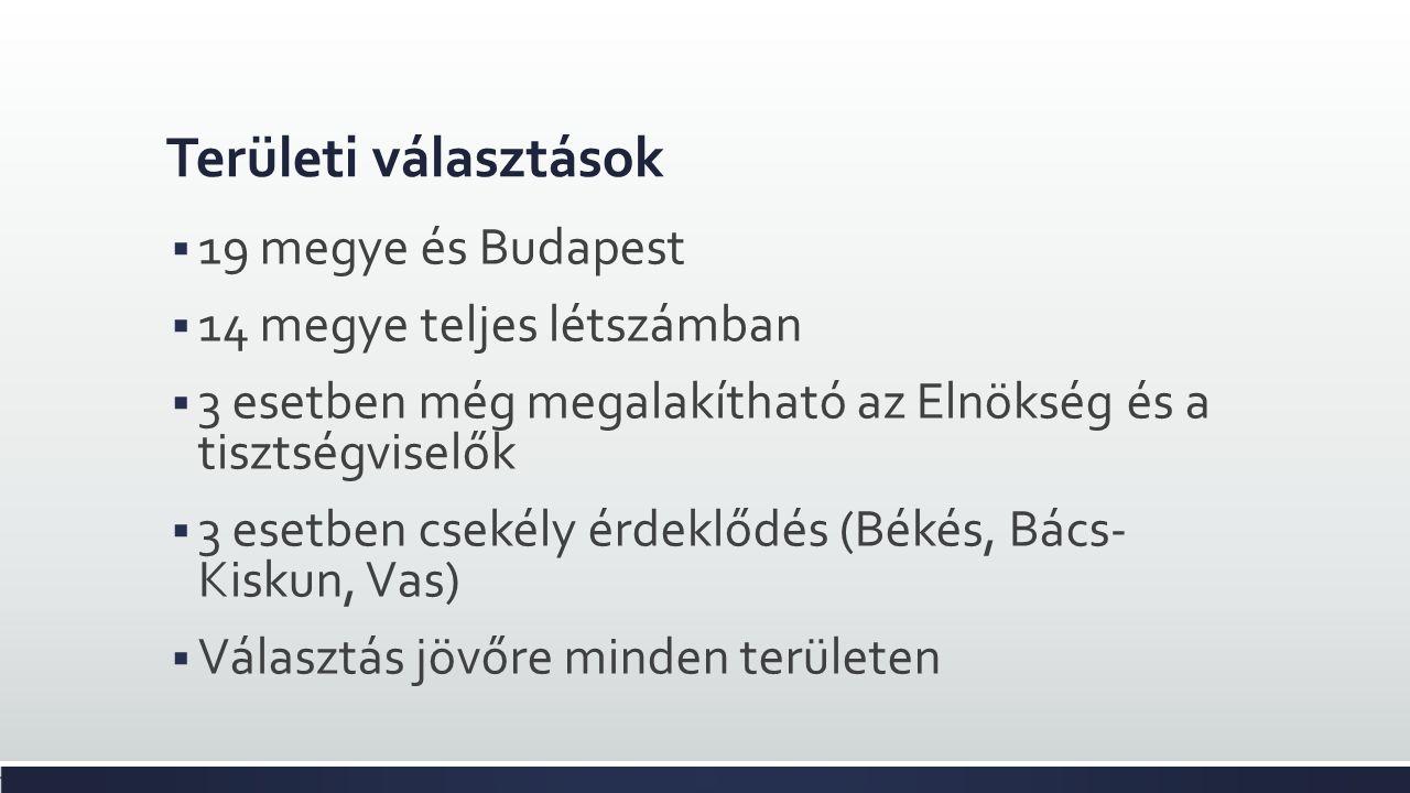 Területi választások  19 megye és Budapest  14 megye teljes létszámban  3 esetben még megalakítható az Elnökség és a tisztségviselők  3 esetben csekély érdeklődés (Békés, Bács- Kiskun, Vas)  Választás jövőre minden területen
