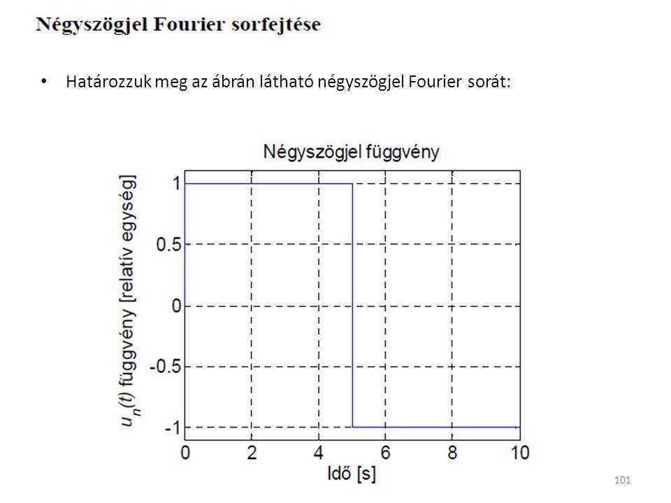 Határozzuk meg az ábrán látható négyszögjel Fourier sorát: 101