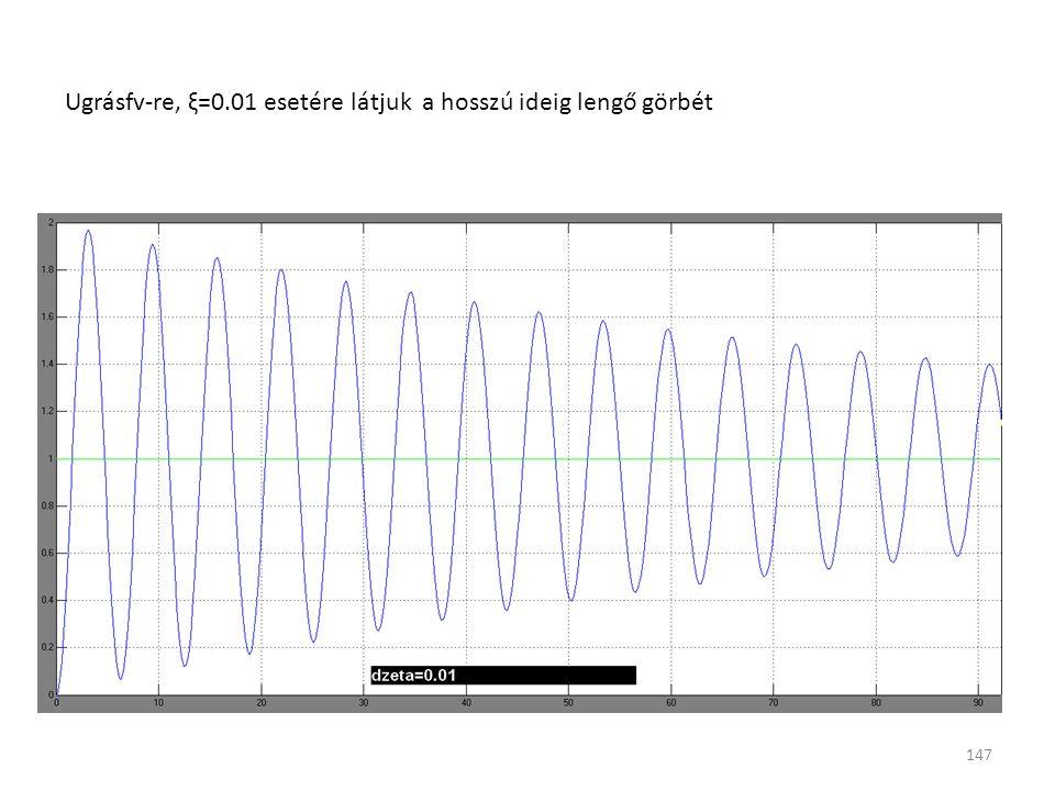 147 Ugrásfv-re, ξ=0.01 esetére látjuk a hosszú ideig lengő görbét