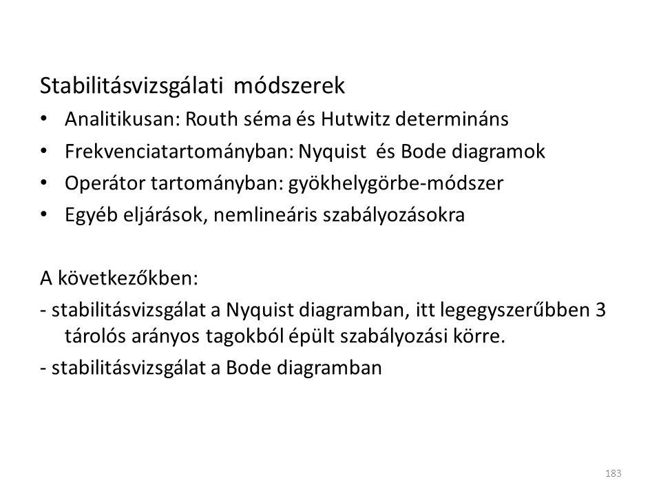 Stabilitásvizsgálati módszerek Analitikusan: Routh séma és Hutwitz determináns Frekvenciatartományban: Nyquist és Bode diagramok Operátor tartományban