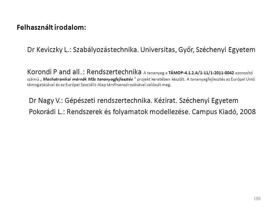 Felhasznált irodalom: Dr Keviczky L.: Szabályozástechnika. Universitas, Győr, Széchenyi Egyetem Korondi P and all … : Rendszertechnika A tananyag a TÁ