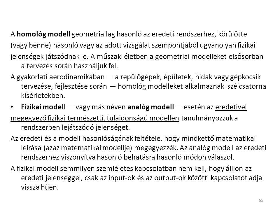 A homológ modell geometriailag hasonló az eredeti rendszerhez, körülötte (vagy benne) hasonló vagy az adott vizsgálat szempontjából ugyanolyan fizikai jelenségek játszódnak le.