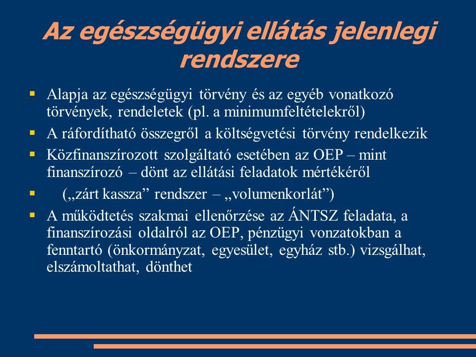Az egészségügyi ellátás jelenlegi rendszere  Alapja az egészségügyi törvény és az egyéb vonatkozó törvények, rendeletek (pl.