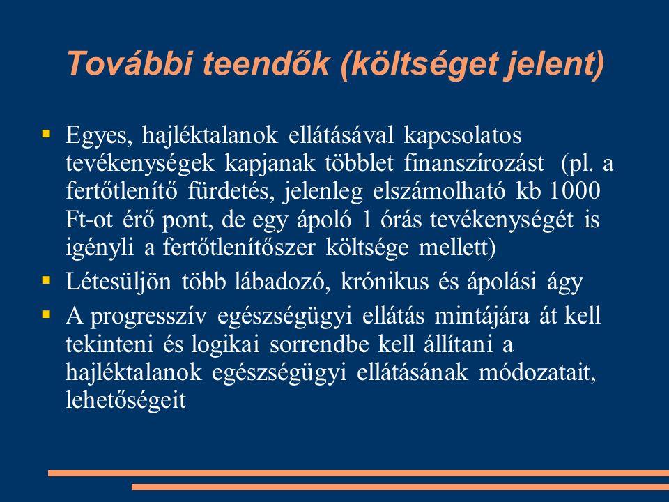 További teendők (költséget jelent)  Egyes, hajléktalanok ellátásával kapcsolatos tevékenységek kapjanak többlet finanszírozást (pl.