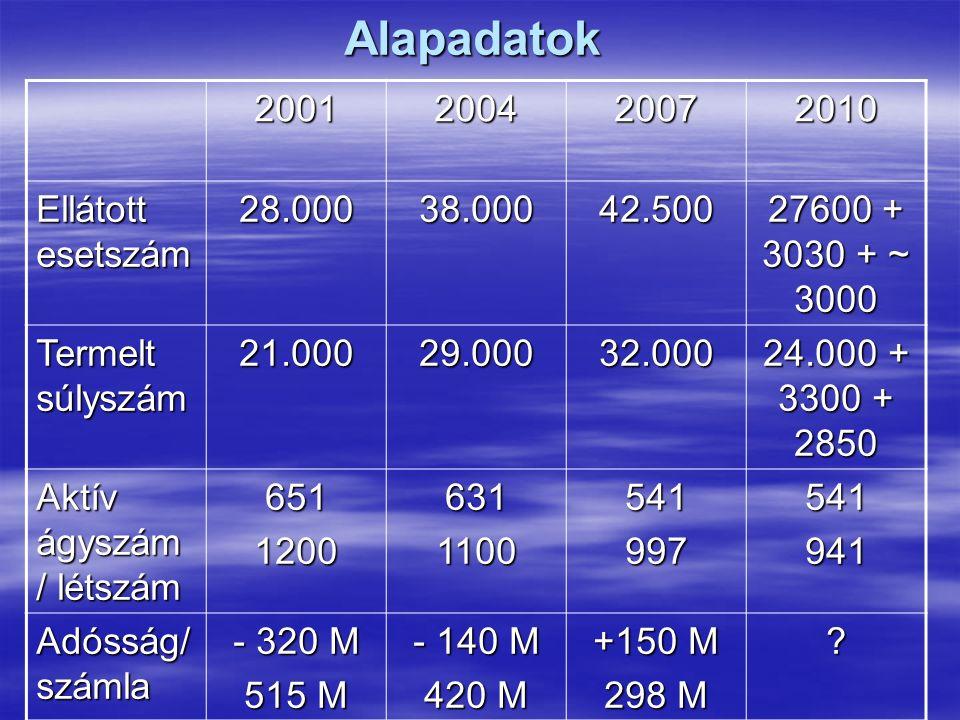 2001200420072010 Ellátott esetszám 28.00038.00042.500 27600 + 3030 + ~ 3000 Termelt súlyszám 21.00029.00032.000 24.000 + 3300 + 2850 Aktív ágyszám / létszám 65112006311100541997541941 Adósság/ számla - 320 M 515 M - 140 M 420 M +150 M 298 M .