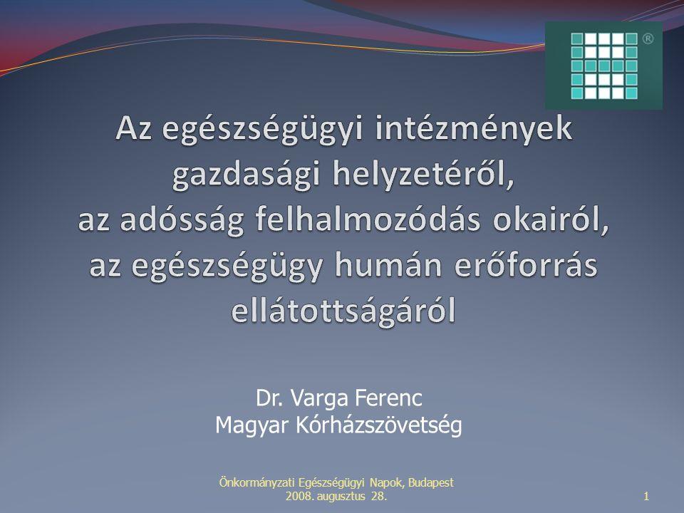 Önkormányzati Egészségügyi Napok, Budapest 2008. augusztus 28.1 Dr. Varga Ferenc Magyar Kórházszövetség
