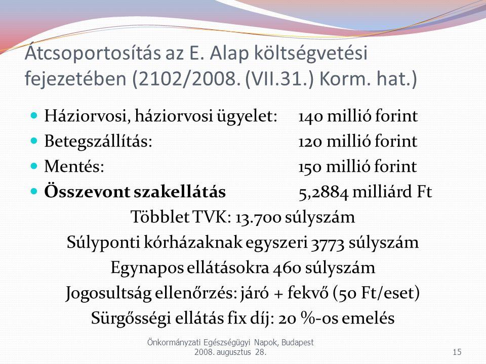 Átcsoportosítás az E. Alap költségvetési fejezetében (2102/2008. (VII.31.) Korm. hat.) Háziorvosi, háziorvosi ügyelet: 140 millió forint Betegszállítá
