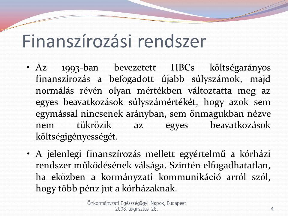 Önkormányzati Egészségügyi Napok, Budapest 2008. augusztus 28.4 Az 1993-ban bevezetett HBCs költségarányos finanszírozás a befogadott újabb súlyszámok