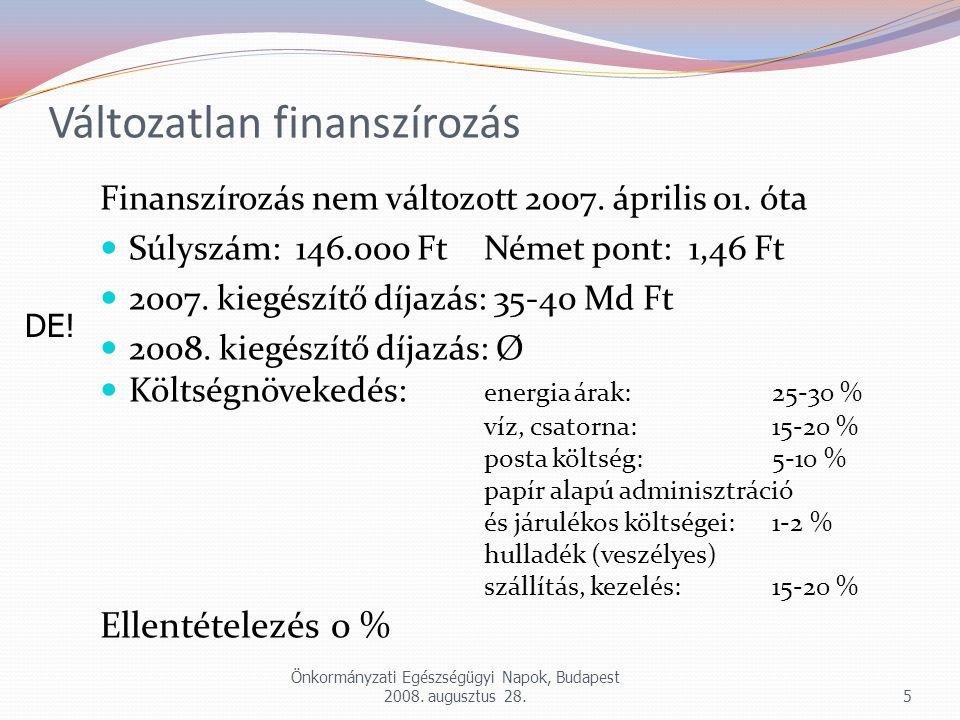 Változatlan finanszírozás Finanszírozás nem változott 2007. április 01. óta Súlyszám: 146.000 Ft Német pont: 1,46 Ft 2007. kiegészítő díjazás: 35-40 M