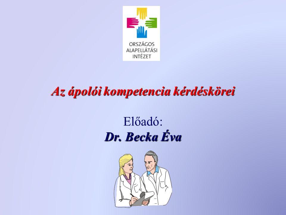 Az ápolói kompetencia kérdéskörei Dr. Becka Éva Az ápolói kompetencia kérdéskörei Előadó: Dr.