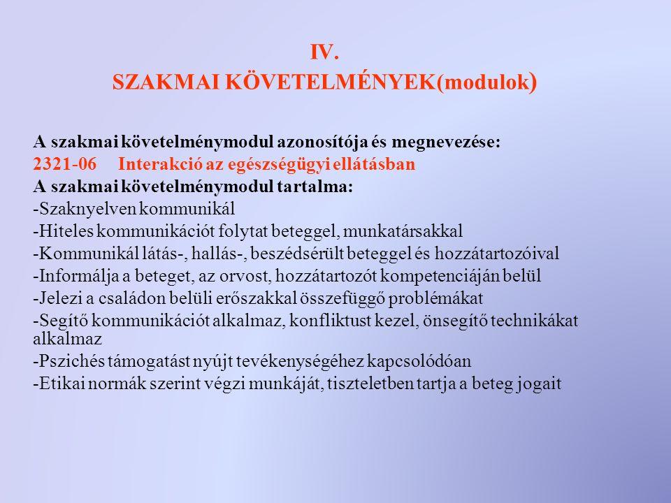 IV. SZAKMAI KÖVETELMÉNYEK(modulok ) A szakmai követelménymodul azonosítója és megnevezése: 2321-06 Interakció az egészségügyi ellátásban A szakmai köv