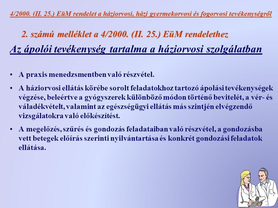 4/2000. (II. 25.) EüM rendelet a háziorvosi, házi gyermekorvosi és fogorvosi tevékenységről 2.
