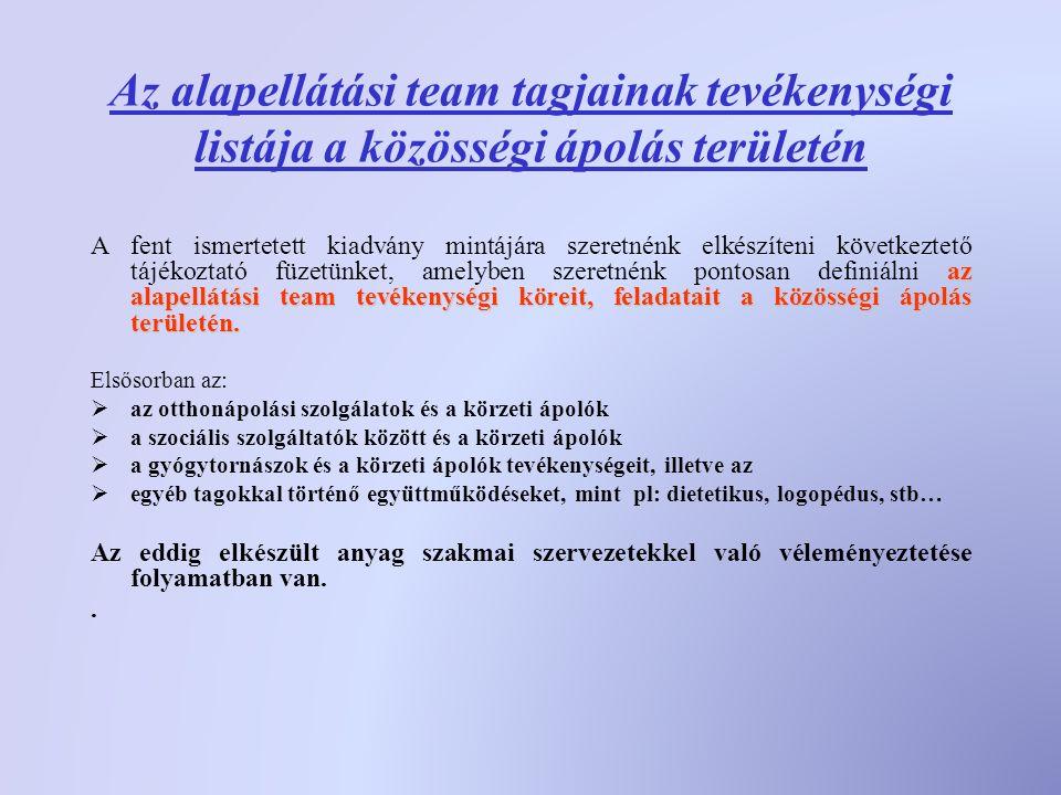 Az alapellátási team tagjainak tevékenységi listája a közösségi ápolás területén az alapellátási team tevékenységi köreit, feladataita közösségi ápolás területén.
