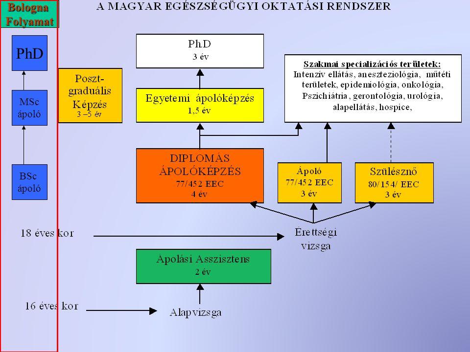 BSc ápoló MSc ápoló PhD BolognaFolyamat