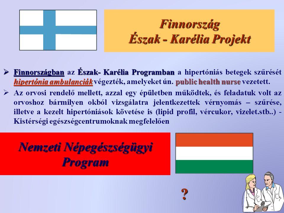 Finnország Észak - Karélia Projekt  FinnországbanÉszak- Karélia Programban hipertónia ambulanciákpublic health nurse  Finnországban az Észak- Karélia Programban a hipertóniás betegek szűrését hipertónia ambulanciák végezték, amelyeket ún.