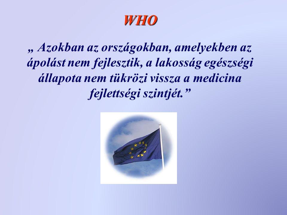 """"""" Azokban az országokban, amelyekben az ápolást nem fejlesztik, a lakosság egészségi állapota nem tükrözi vissza a medicina fejlettségi szintjét. WHO"""