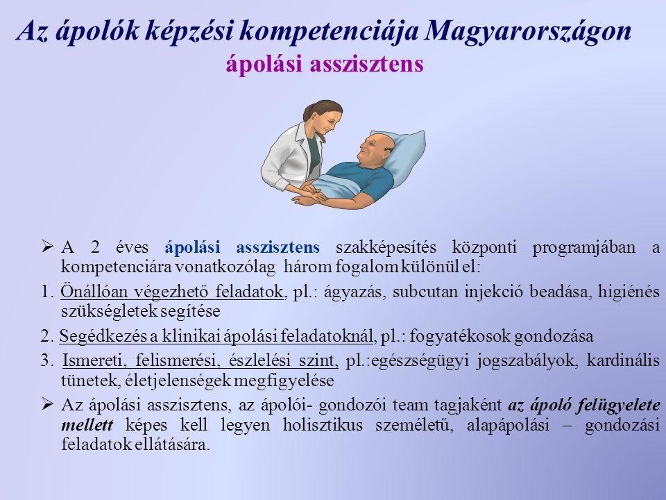 Az ápolók képzési kompetenciája Magyarországon ápolási asszisztens  A 2 éves ápolási asszisztens szakképesítés központi programjában a kompetenciára vonatkozólag három fogalom különül el: 1.