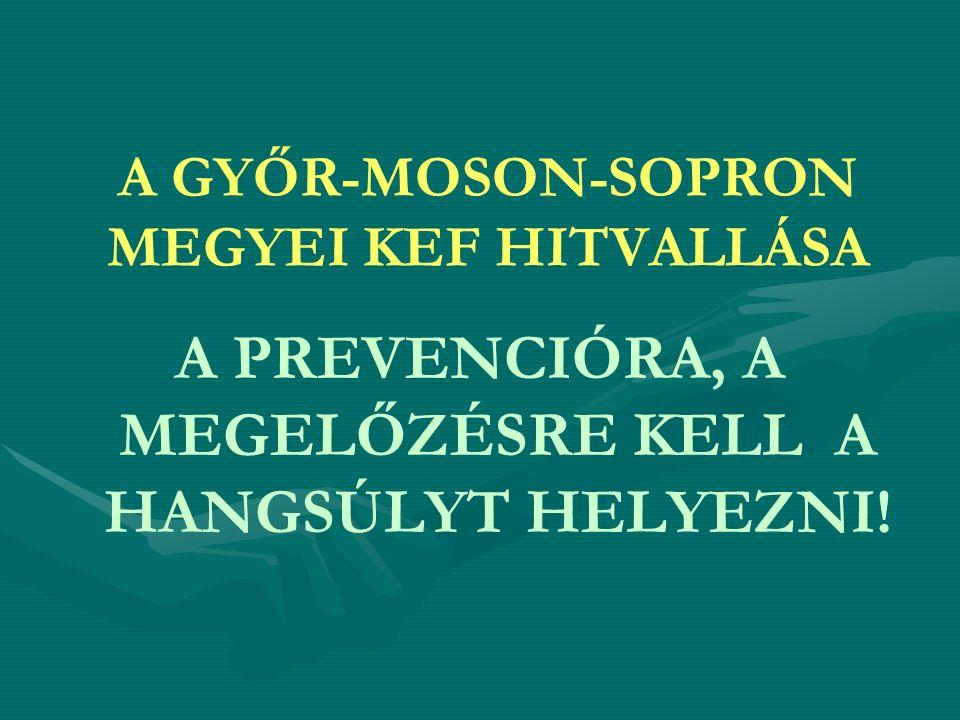 A GYŐR-MOSON-SOPRON MEGYEI KEF HITVALLÁSA A PREVENCIÓRA, A MEGELŐZÉSRE KELL A HANGSÚLYT HELYEZNI!