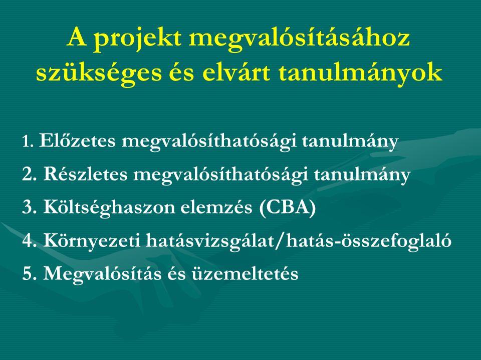 A projekt megvalósításához szükséges és elvárt tanulmányok 1.