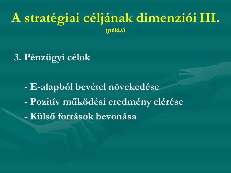 A stratégiai céljának dimenziói III. (példa) 3.