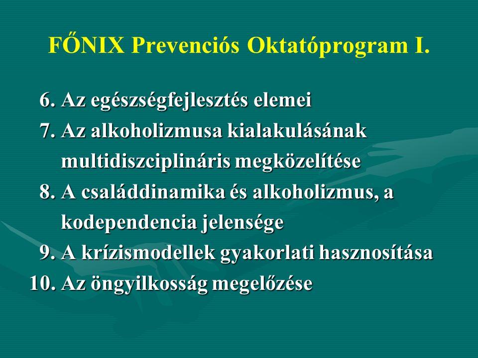 FŐNIX Prevenciós Oktatóprogram I. 6. Az egészségfejlesztés elemei 6.
