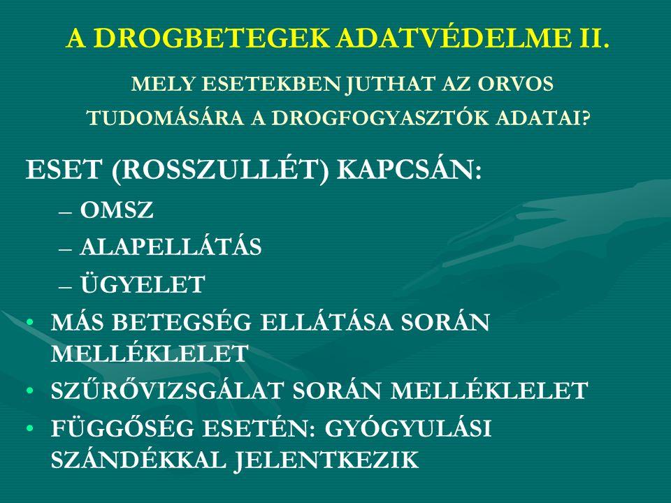 A DROGBETEGEK ADATVÉDELME III.ORVOSI TITOK-E A DROGFOGYASZTÓK ADATAI.