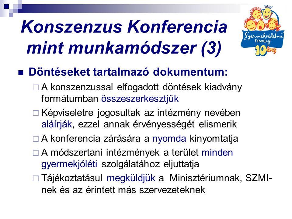 Konszenzus Konferencia mint munkamódszer (3) Döntéseket tartalmazó dokumentum:  A konszenzussal elfogadott döntések kiadvány formátumban összeszerkesztjük  Képviseletre jogosultak az intézmény nevében aláírják, ezzel annak érvényességét elismerik  A konferencia zárására a nyomda kinyomtatja  A módszertani intézmények a terület minden gyermekjóléti szolgálatához eljuttatja  Tájékoztatásul megküldjük a Minisztériumnak, SZMI- nek és az érintett más szervezeteknek