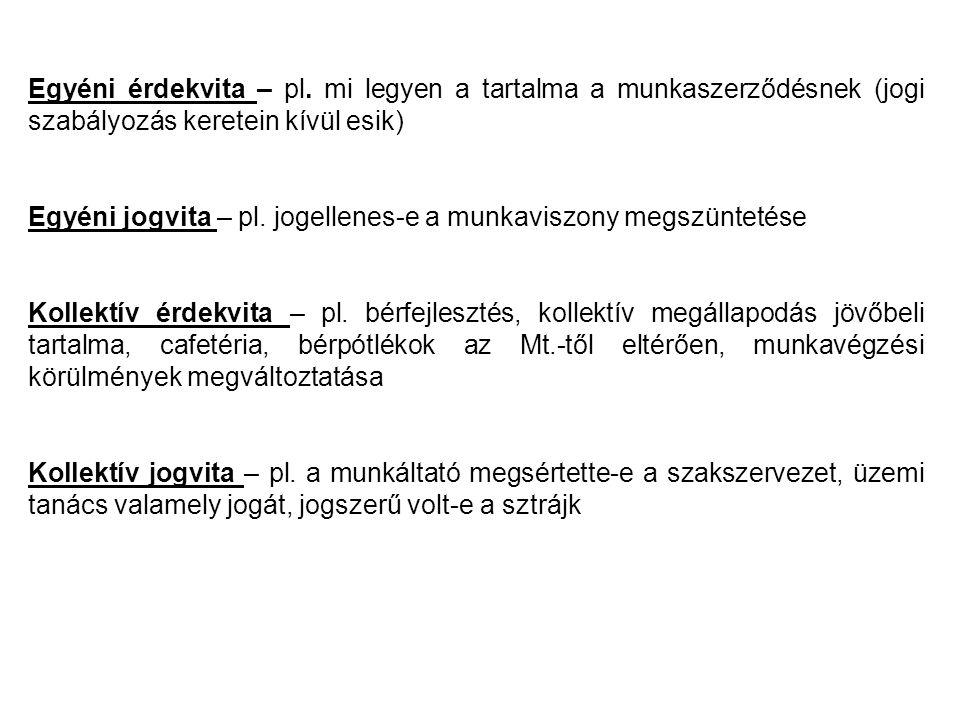 Egyéni érdekvita – pl.