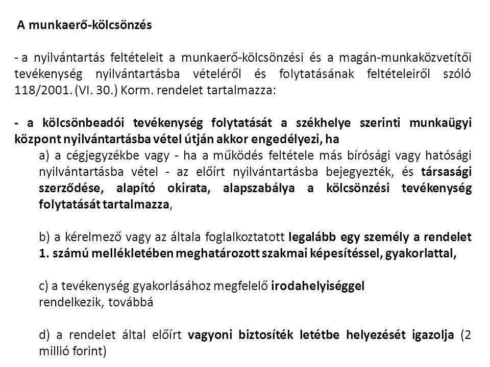 A munkaerő-kölcsönzés - a nyilvántartás feltételeit a munkaerő-kölcsönzési és a magán-munkaközvetítői tevékenység nyilvántartásba vételéről és folytat