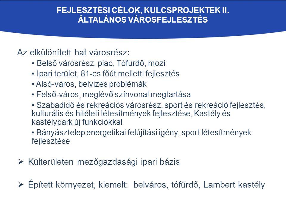 FEJLESZTÉSI CÉLOK, KULCSPROJEKTEK II.