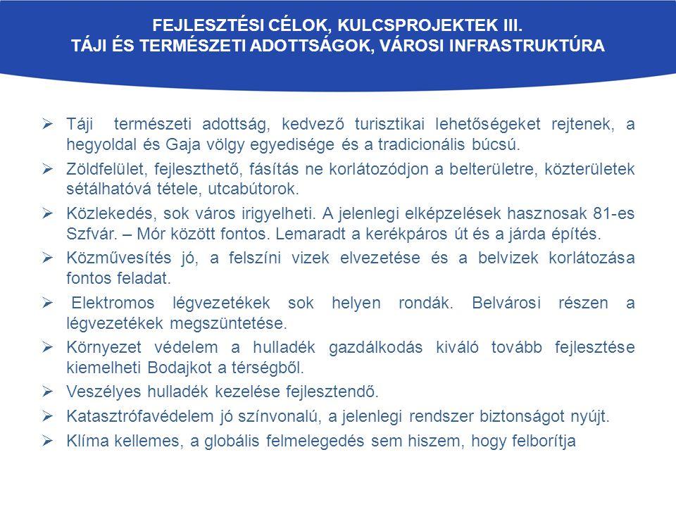 FEJLESZTÉSI CÉLOK, KULCSPROJEKTEK III.