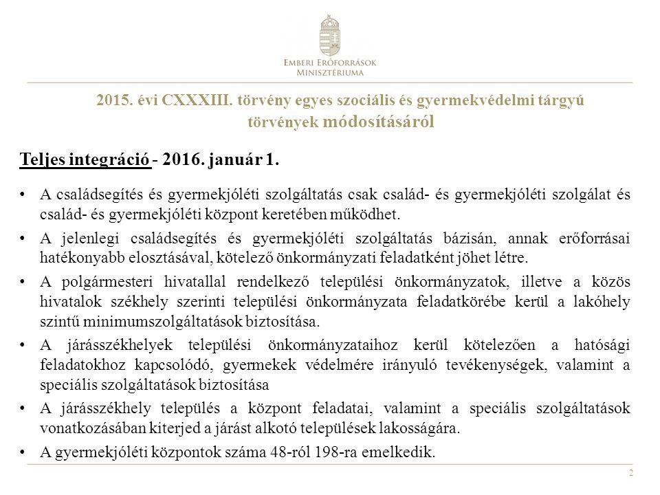 2 2015. évi CXXXIII. törvény egyes szociális és gyermekvédelmi tárgyú törvények módosításáról Teljes integráció - 2016. január 1. A családsegítés és g