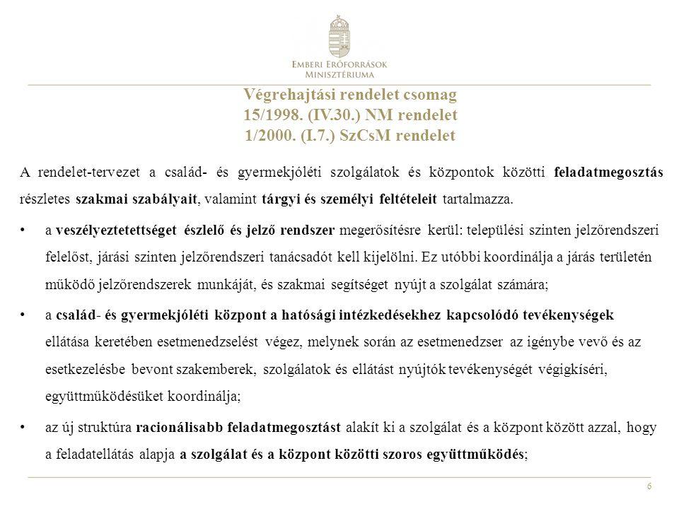 6 Végrehajtási rendelet csomag 15/1998. (IV.30.) NM rendelet 1/2000. (I.7.) SzCsM rendelet A rendelet-tervezet a család- és gyermekjóléti szolgálatok