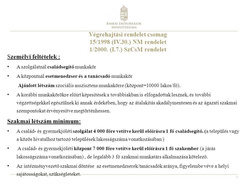 7 Végrehajtási rendelet csomag 15/1998 (IV.30.) NM rendelet 1/2000. (I.7.) SzCsM rendelet Személyi feltételek : A szolgálatnál családsegítő munkakör A
