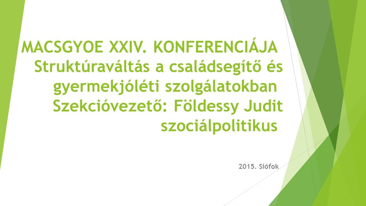 MACSGYOE XXIV. KONFERENCIÁJA Struktúraváltás a családsegítő és gyermekjóléti szolgálatokban Szekcióvezető: Földessy Judit szociálpolitikus 2015. Siófo