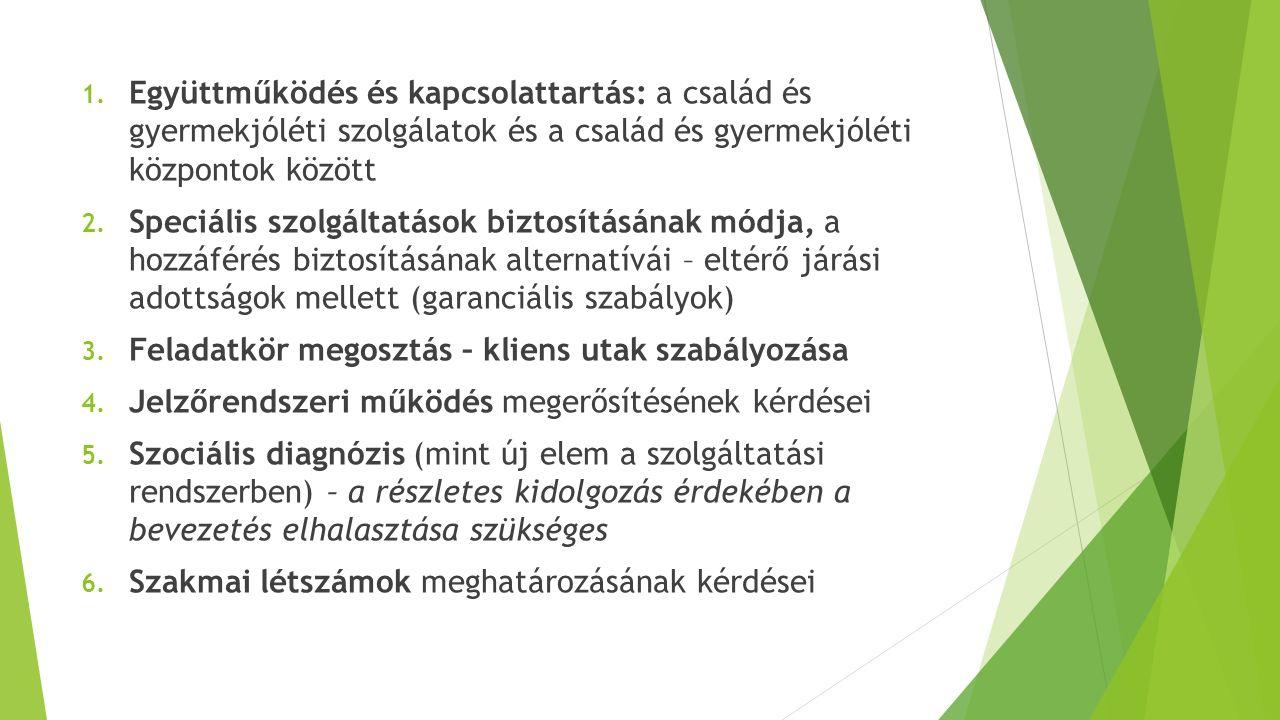1. Együttműködés és kapcsolattartás: a család és gyermekjóléti szolgálatok és a család és gyermekjóléti központok között 2. Speciális szolgáltatások b
