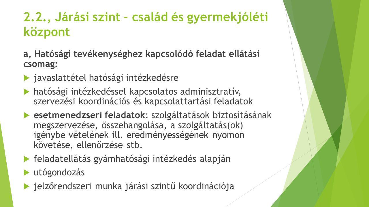 2.2., Járási szint – család és gyermekjóléti központ a, Hatósági tevékenységhez kapcsolódó feladat ellátási csomag:  javaslattétel hatósági intézkedé
