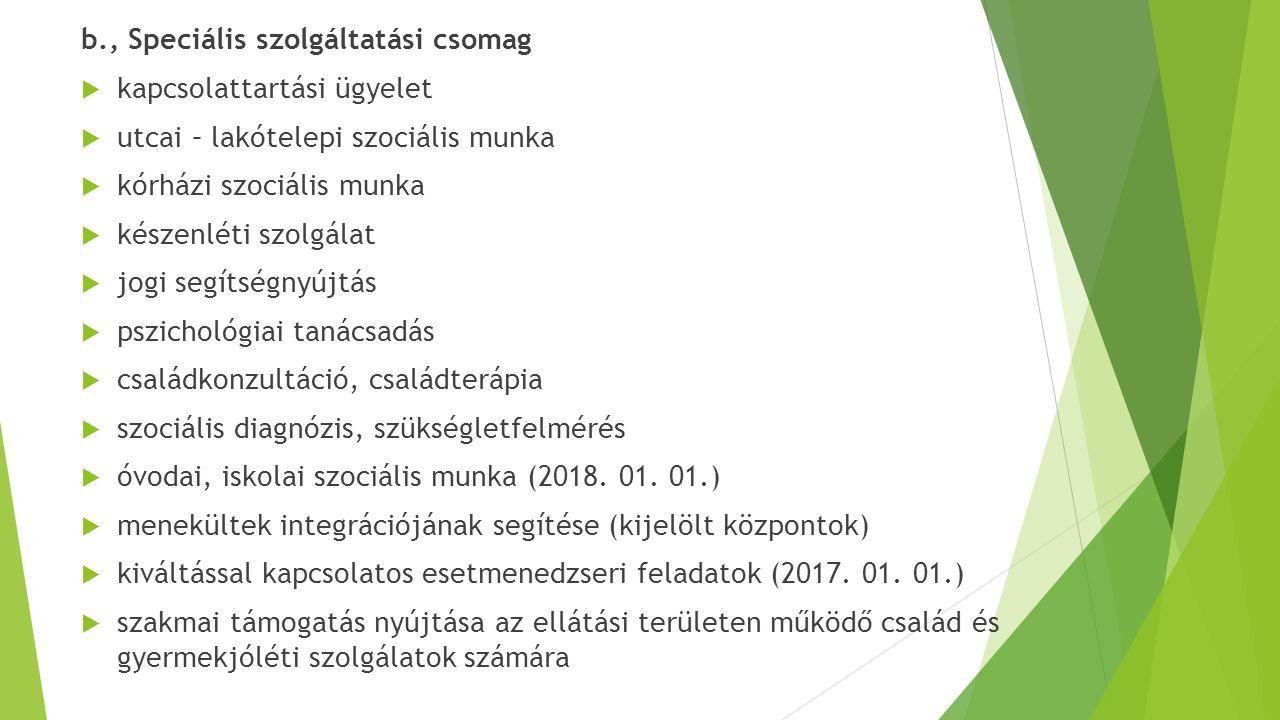 b., Speciális szolgáltatási csomag  kapcsolattartási ügyelet  utcai – lakótelepi szociális munka  kórházi szociális munka  készenléti szolgálat 