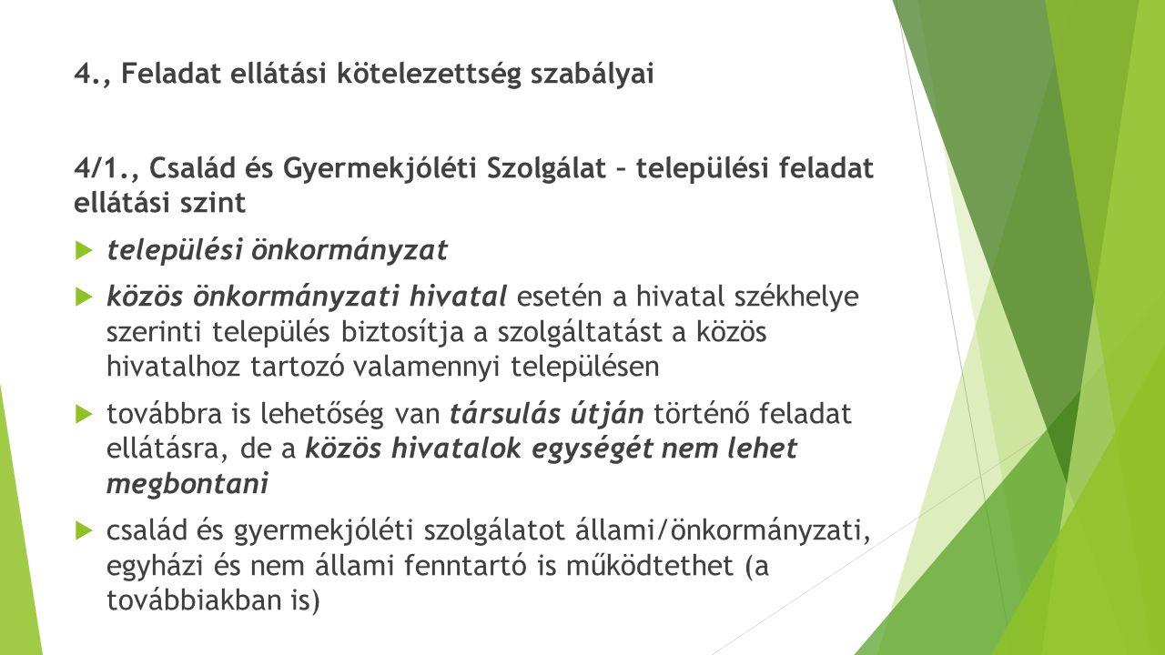 4., Feladat ellátási kötelezettség szabályai 4/1., Család és Gyermekjóléti Szolgálat – települési feladat ellátási szint  települési önkormányzat  k