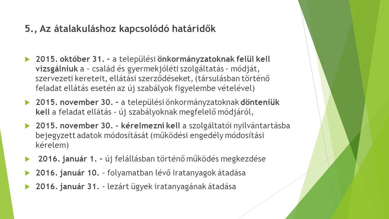 5., Az átalakuláshoz kapcsolódó határidők  2015. október 31. – a települési önkormányzatoknak felül kell vizsgálniuk a – család és gyermekjóléti szol