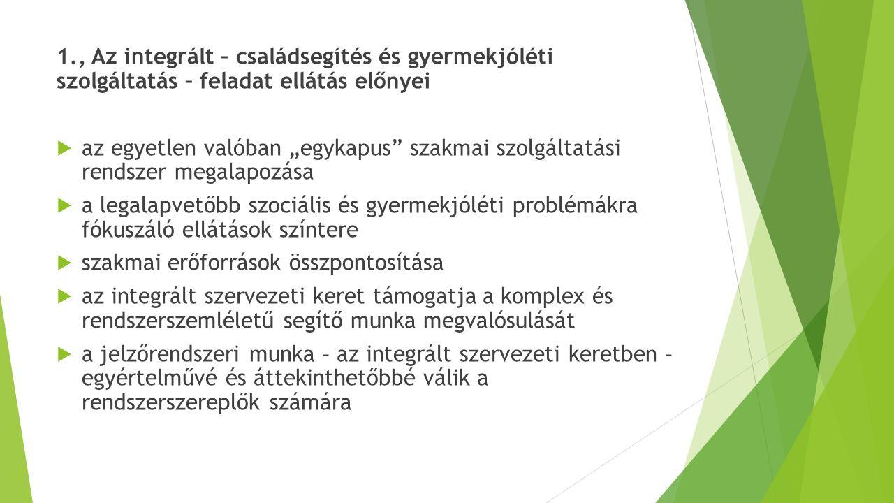 2.1., Települési szint – család és gyermekjóléti szolgálat Alapszolgáltatási csomag:  információnyújtás  jelzőrendszer működtetése települési szinten  szolgáltatásokhoz/ ellátásokhoz való hozzájutás segítése  általános tanácsadások  családgondozás  egyéni és csoportos készségfejlesztés, szabadidős programok szervezése,  közösségfejlesztés (helyi közösségi kezdeményezések támogatása)  kapcsolattartás és együttműködés a család és gyermekjóléti központtal
