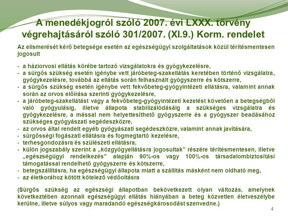 Migránsok egészségügyi ellátása Minden Magyarországon tartózkodó személynek, így a migránsoknak is (függetlenül attól, hogy regisztrálásra kerültek-e) joguk van a sürgősségi orvosi ellátásra, melynek körét a sürgős szükség körébe tartozó egészségügyi szolgáltatásokról szóló 52/2006.