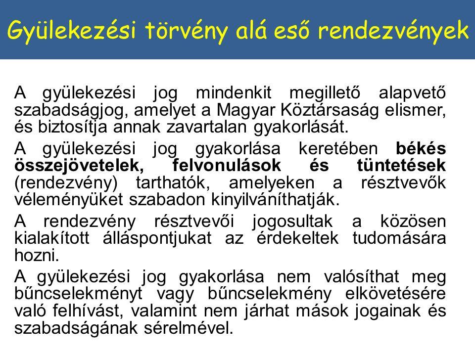 A gyülekezési jog mindenkit megillető alapvető szabadságjog, amelyet a Magyar Köztársaság elismer, és biztosítja annak zavartalan gyakorlását.