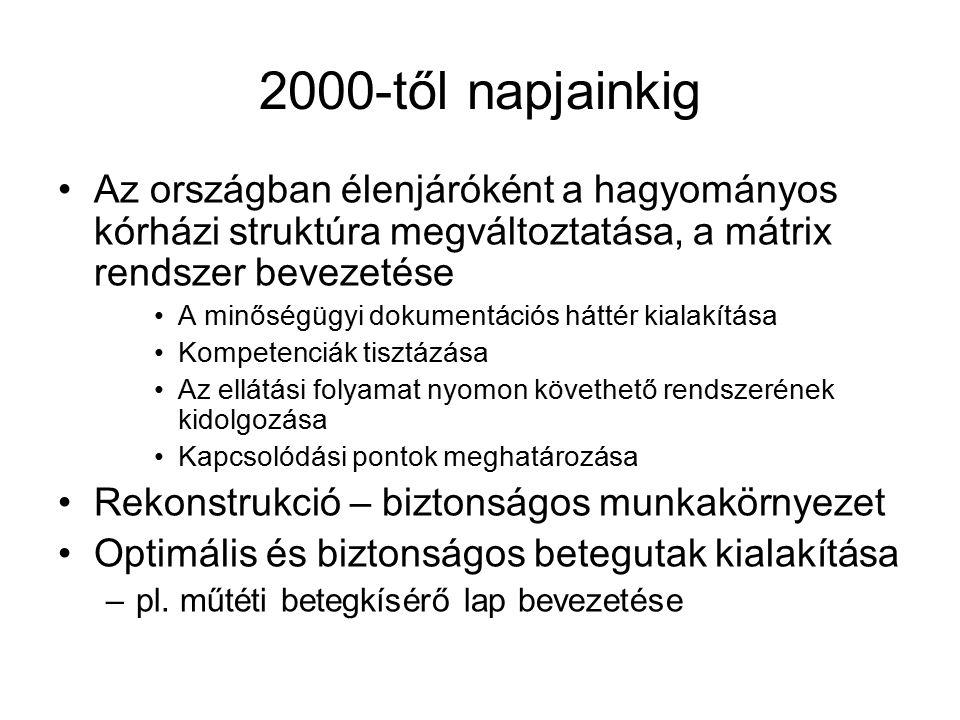 2000-től napjainkig Az országban élenjáróként a hagyományos kórházi struktúra megváltoztatása, a mátrix rendszer bevezetése A minőségügyi dokumentáció
