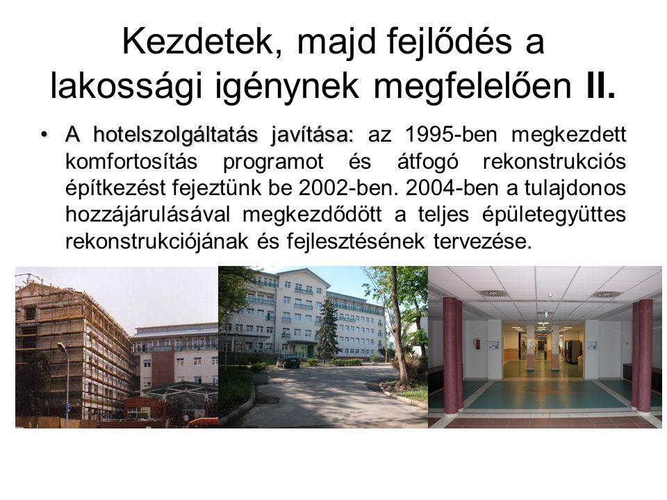A hotelszolgáltatás javítása:A hotelszolgáltatás javítása: az 1995-ben megkezdett komfortosítás programot és átfogó rekonstrukciós építkezést fejeztün